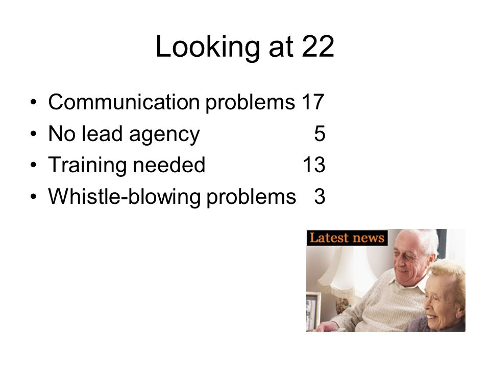 Looking at 22 Communication problems 17 No lead agency 5
