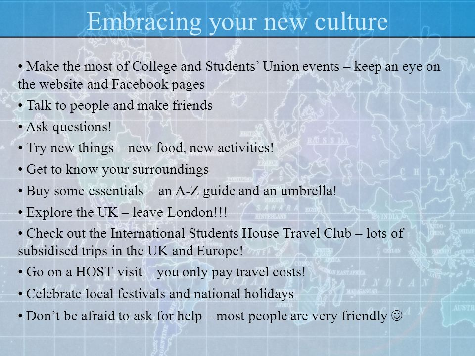 Embracing your new culture