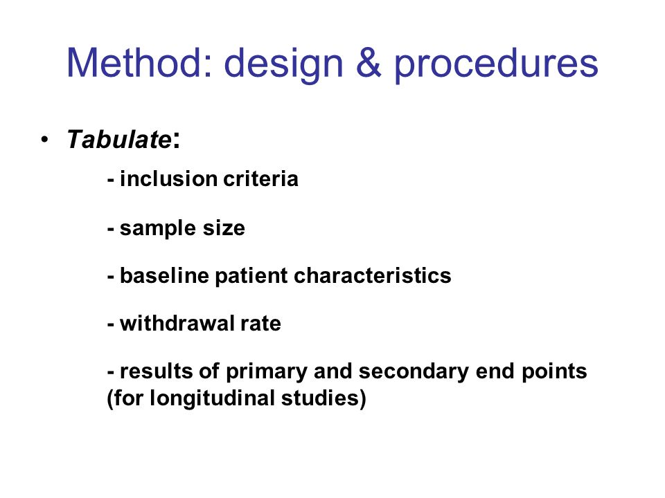 Method: design & procedures