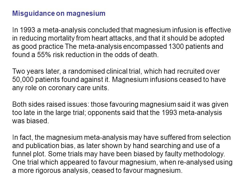Misguidance on magnesium