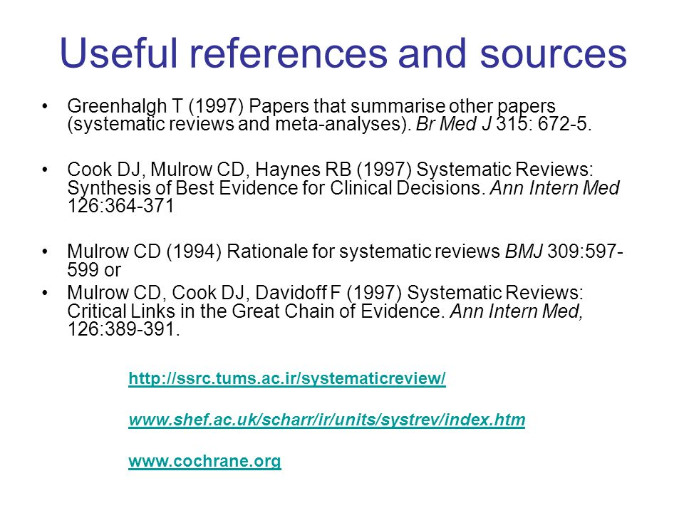 Useful references and sources