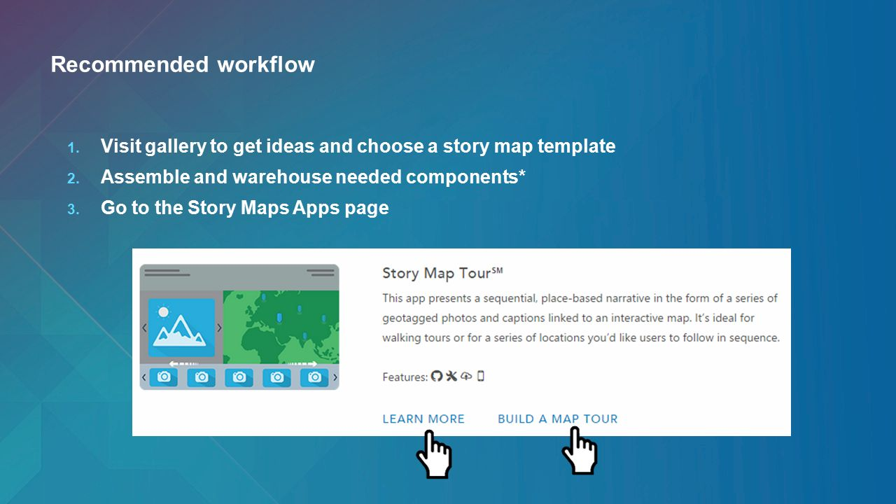 Getting the most out of arcgis web application templates ppt recommended workflow visit gallery to get ideas and choose a story map template assemble and pronofoot35fo Images