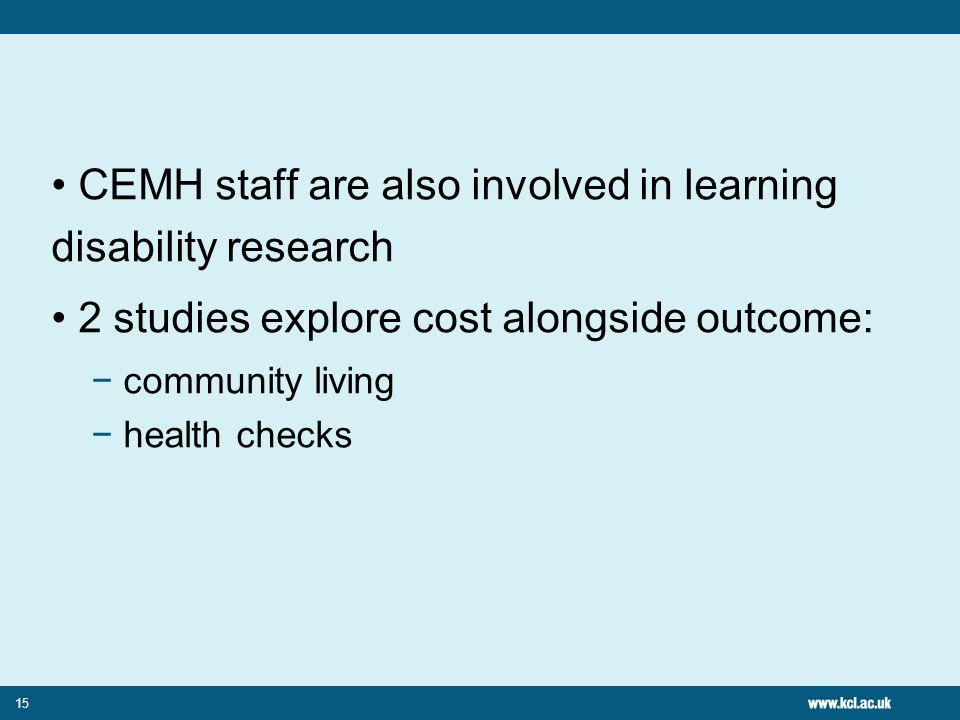 CEMH staff are also involved in learning disability research