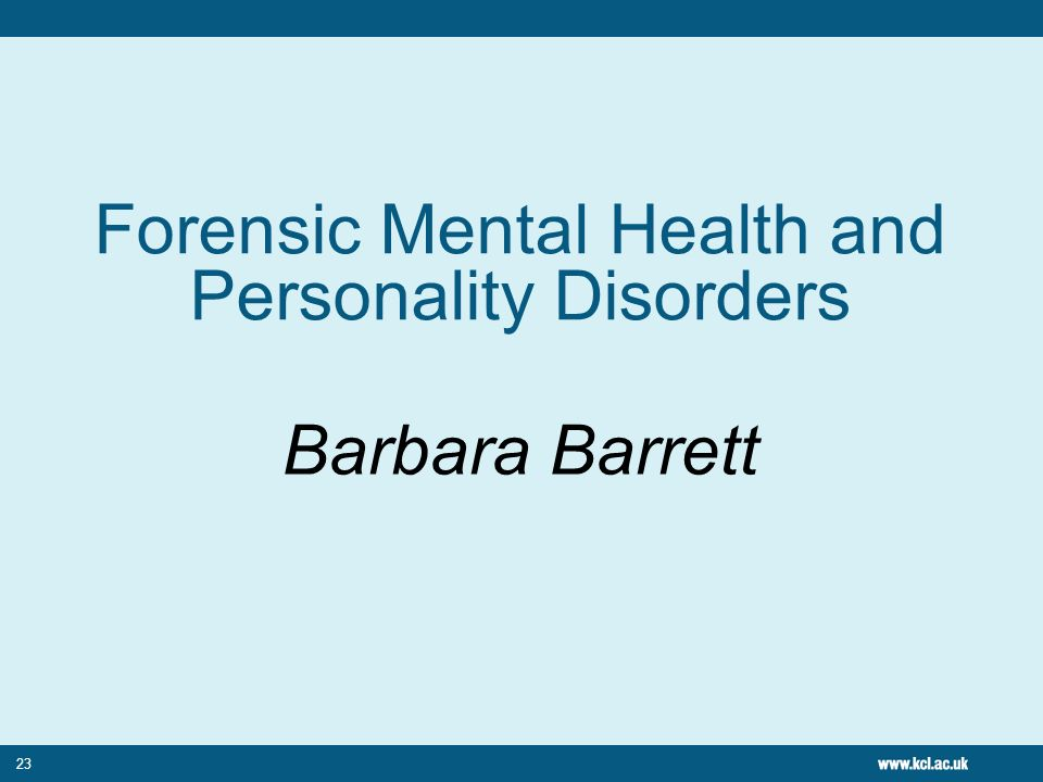 Forensic Mental Health and Personality Disorders