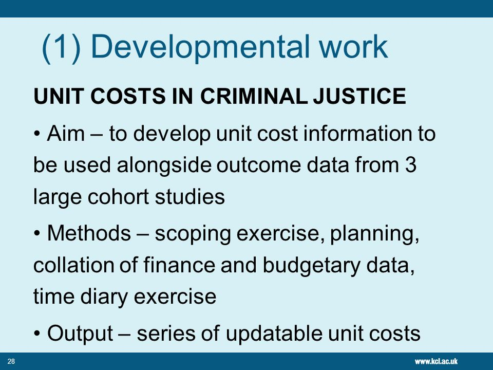 (1) Developmental work UNIT COSTS IN CRIMINAL JUSTICE