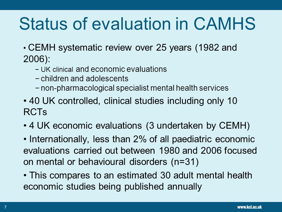 Status of evaluation in CAMHS