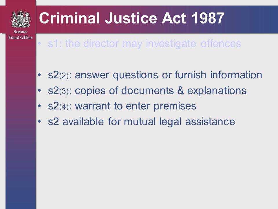 Criminal Justice Act 1987 s1: the director may investigate offences