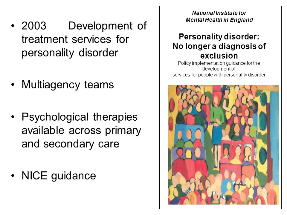 2003 Development of treatment services for personality disorder