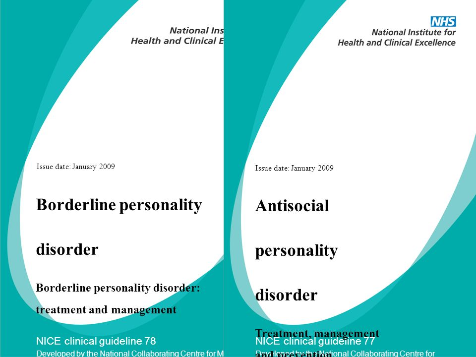 Borderline personality disorder Antisocial personality disorder