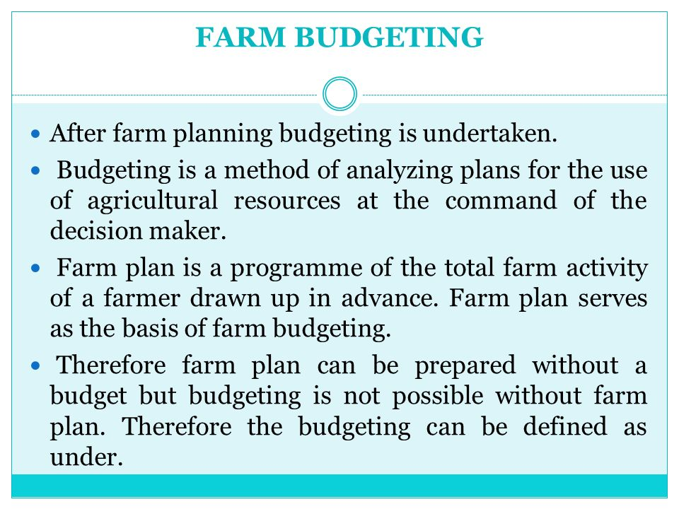 Farm Planning And Budgeting  Ppt Video Online Download