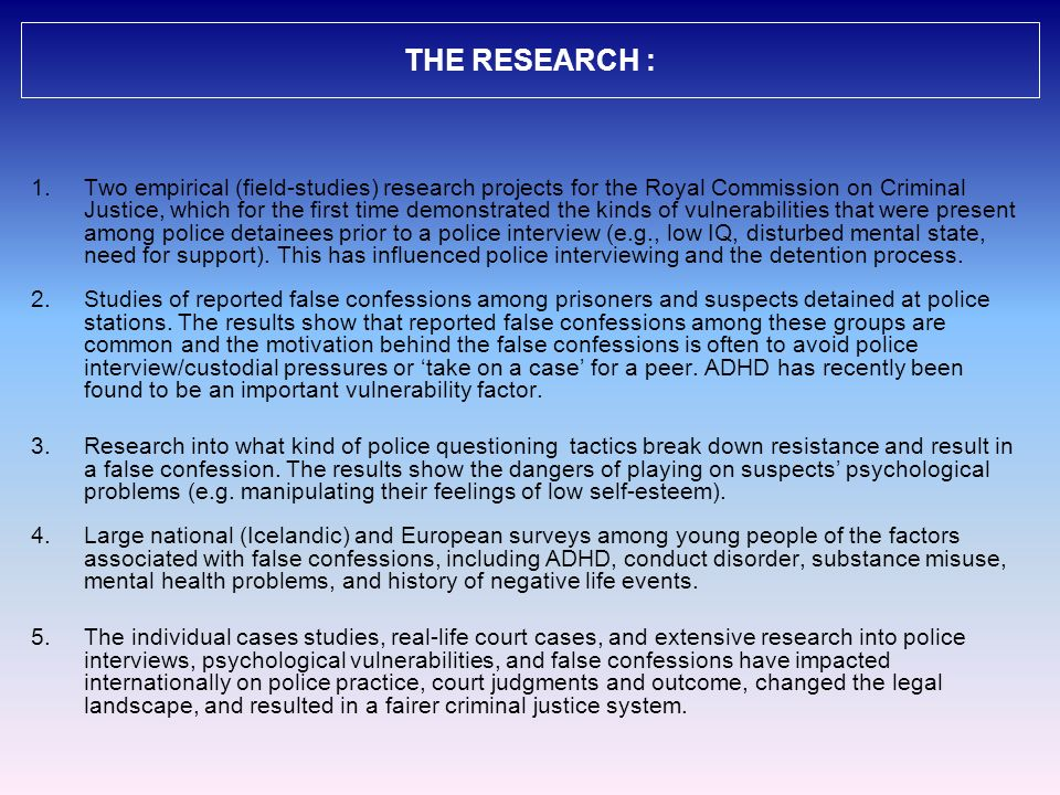 THE RESEARCH :