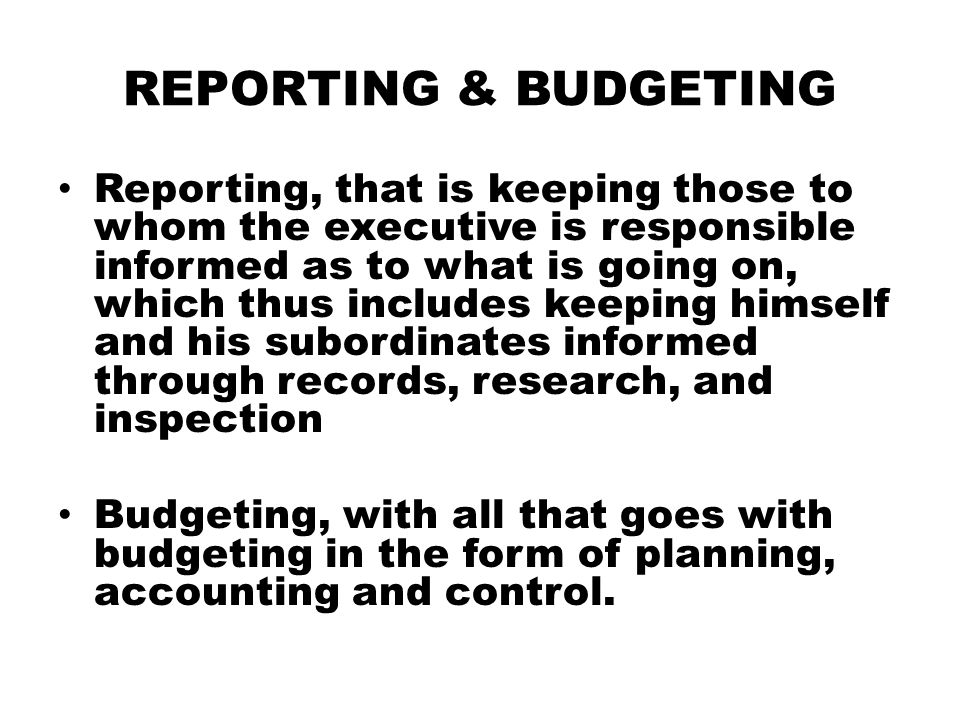REPORTING & BUDGETING