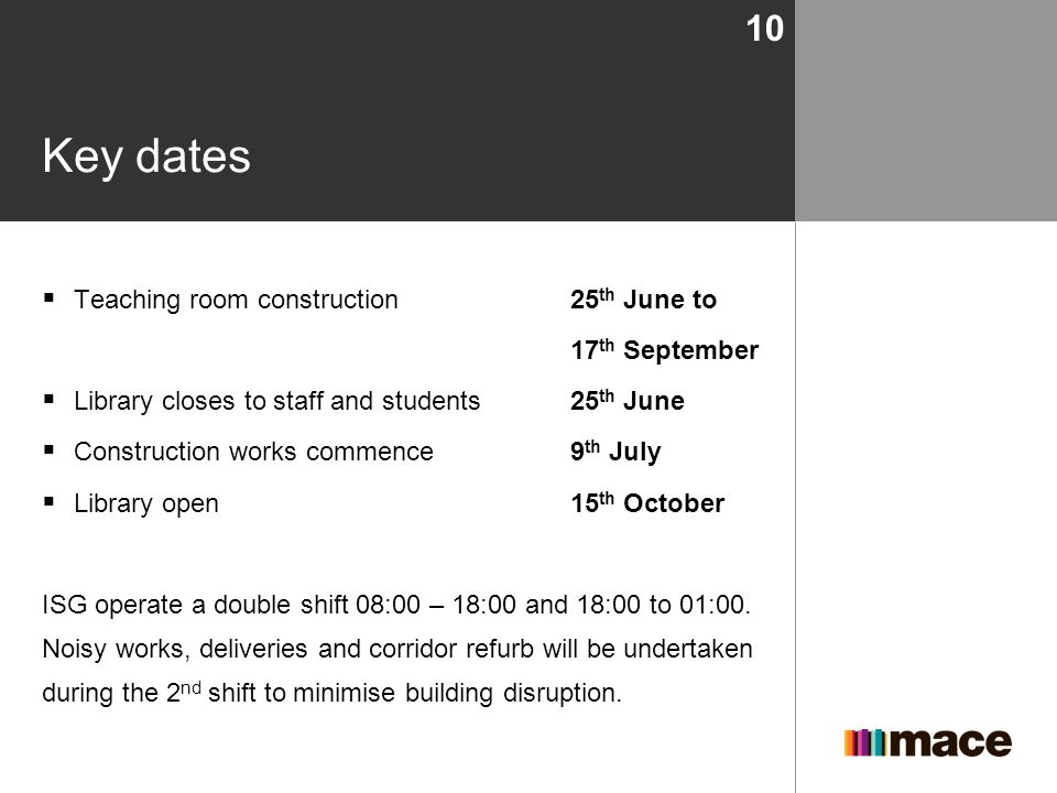 Key dates Teaching room construction 25th June to 17th September
