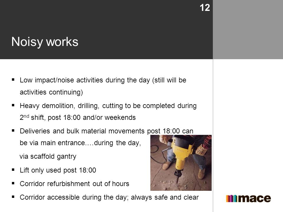 Noisy works Low impact/noise activities during the day (still will be activities continuing)