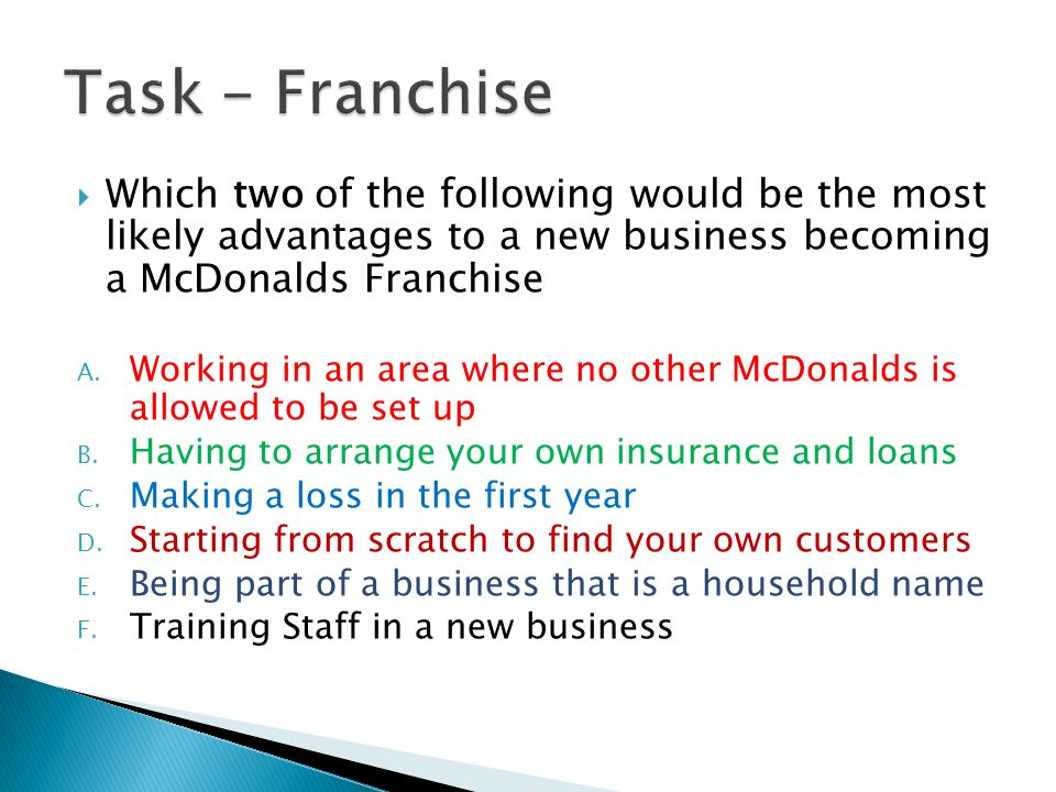 your own franchise part 2 Rent or buy a location for your franchise when it comes to franchises, location is  everything - you'll want a.
