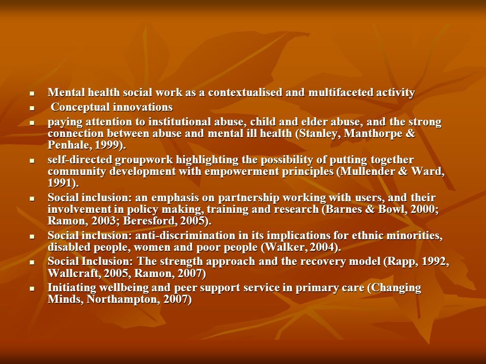 Mental health social work as a contextualised and multifaceted activity