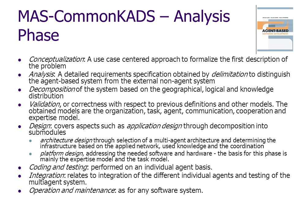 MAS-CommonKADS – Analysis Phase