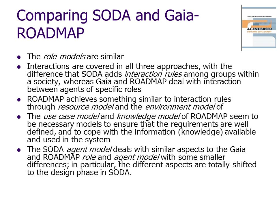 Comparing SODA and Gaia-ROADMAP