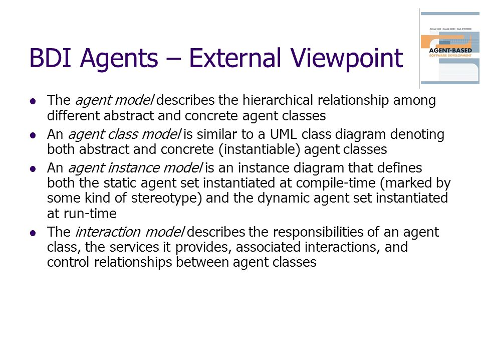 BDI Agents – External Viewpoint