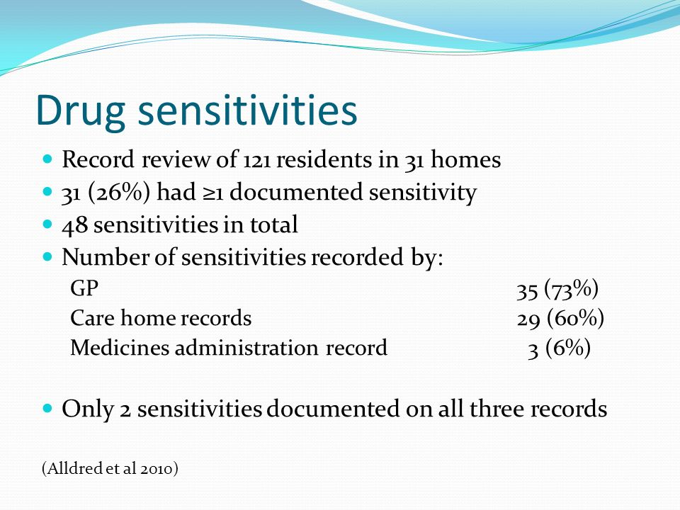 Drug sensitivities Record review of 121 residents in 31 homes