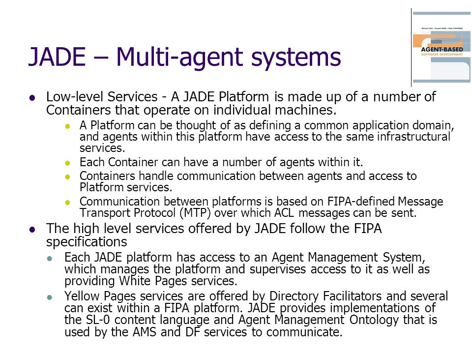 JADE – Multi-agent systems