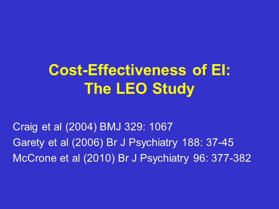 Cost-Effectiveness of EI: The LEO Study