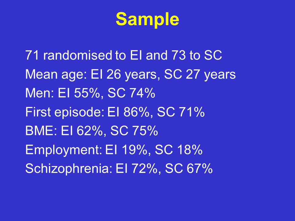 Sample 71 randomised to EI and 73 to SC