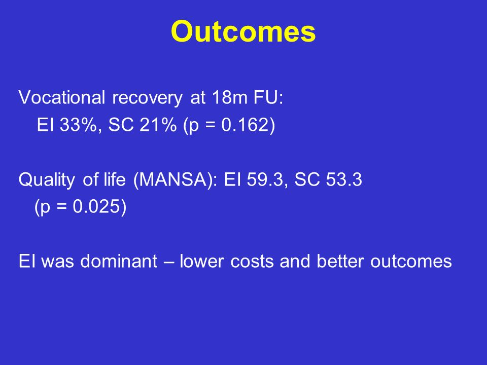 Outcomes Vocational recovery at 18m FU: EI 33%, SC 21% (p = 0.162)