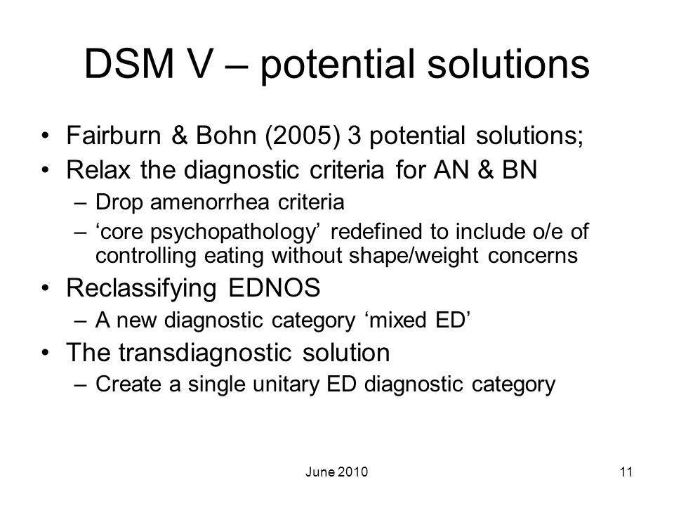 DSM V – potential solutions