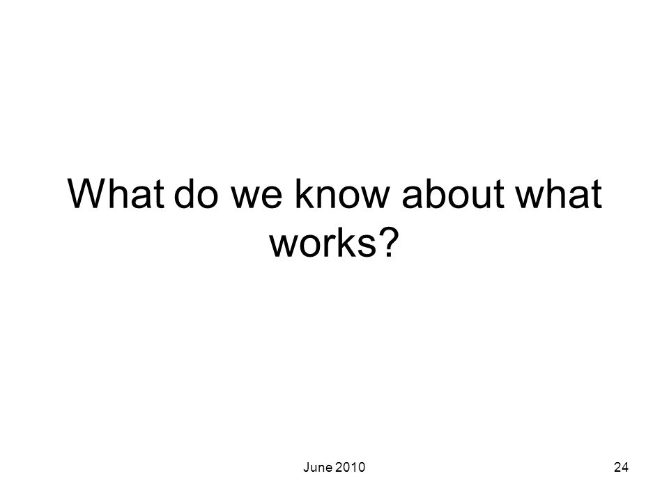 What do we know about what works
