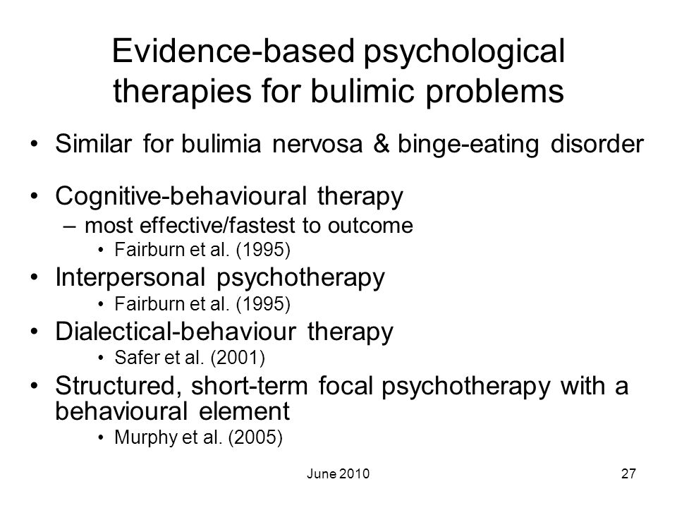 Evidence-based psychological therapies for bulimic problems