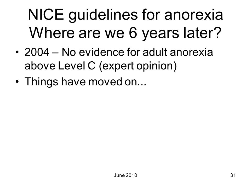 NICE guidelines for anorexia Where are we 6 years later