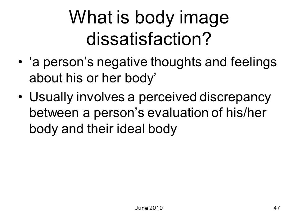 What is body image dissatisfaction