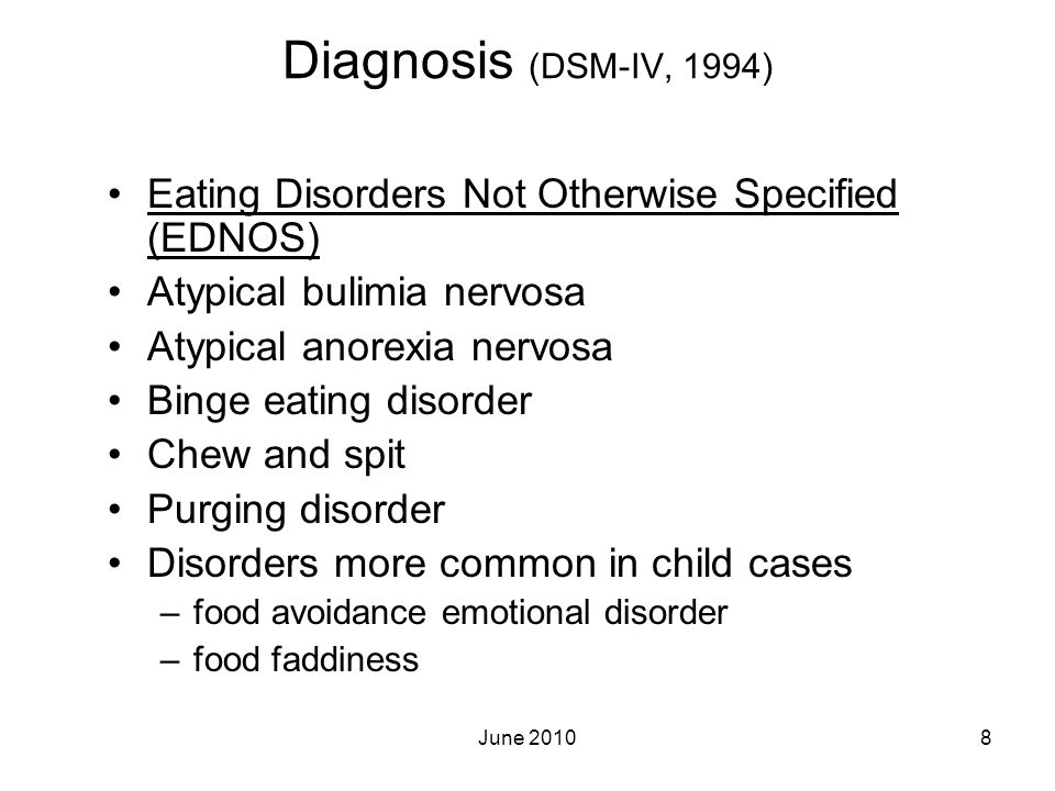 Diagnosis (DSM-IV, 1994) Eating Disorders Not Otherwise Specified (EDNOS) Atypical bulimia nervosa.