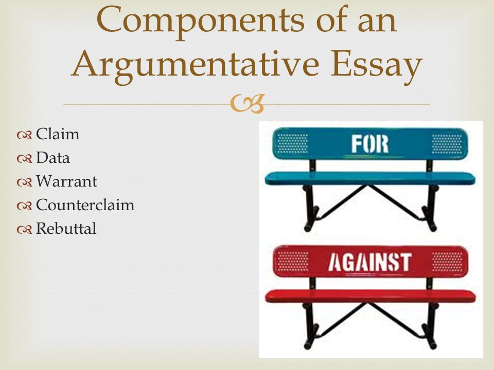 main components of a persuasive essay Persuasive writing, also known as the argument essay, utilizes logic and reason to show that one idea is more legitimate than another idea your thesis, ie, argument, must have two sides it must be debatable if you can write down a thesis parts of the persuasive essay 1 the introduction the introduction has a.