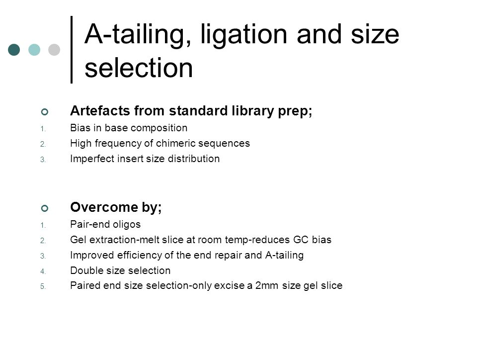 A-tailing, ligation and size selection