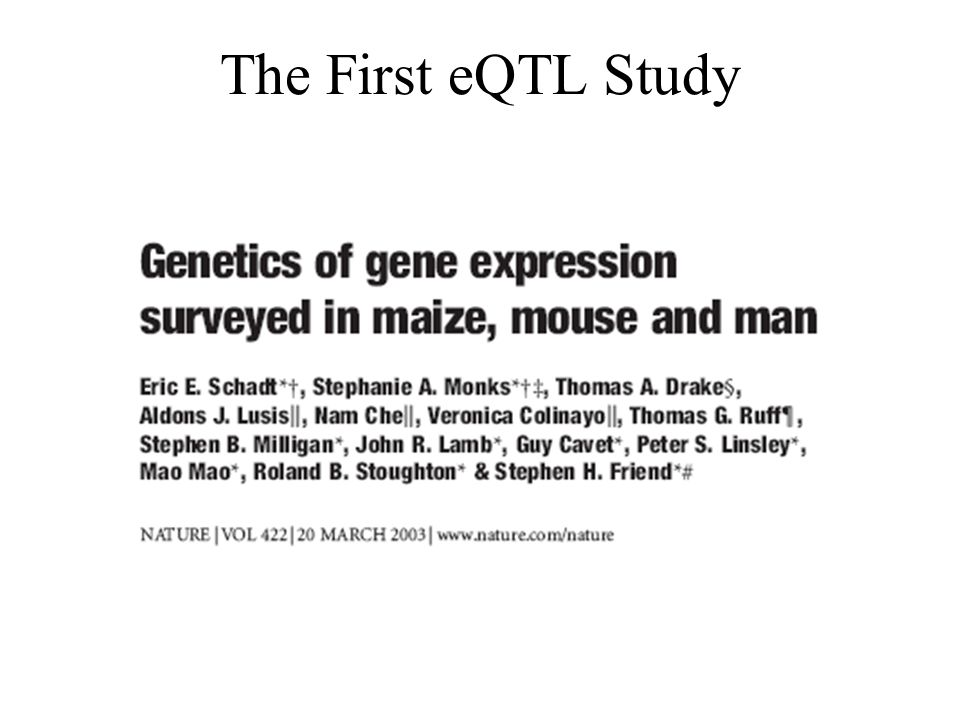 The First eQTL Study