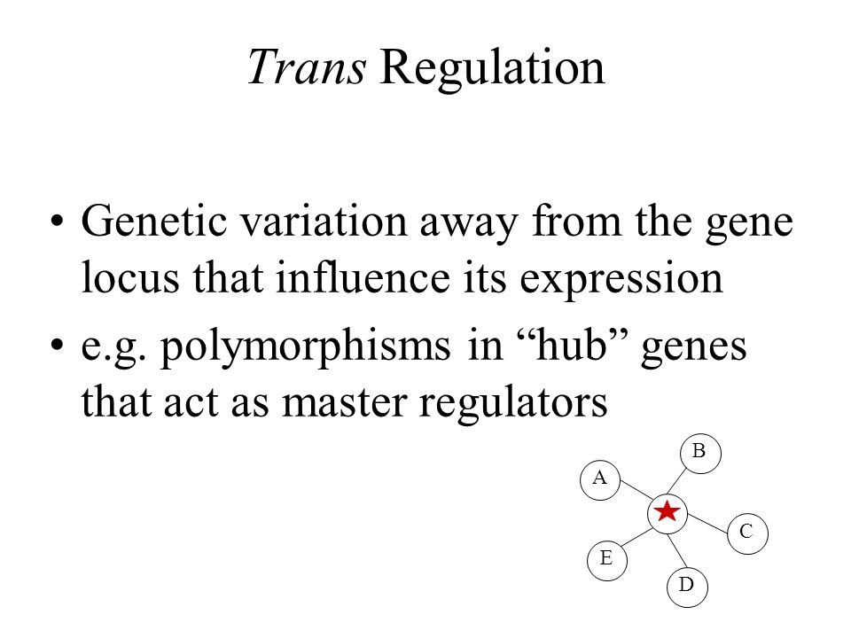 Trans Regulation Genetic variation away from the gene locus that influence its expression.