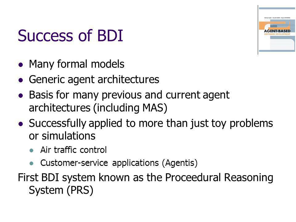 Success of BDI Many formal models Generic agent architectures