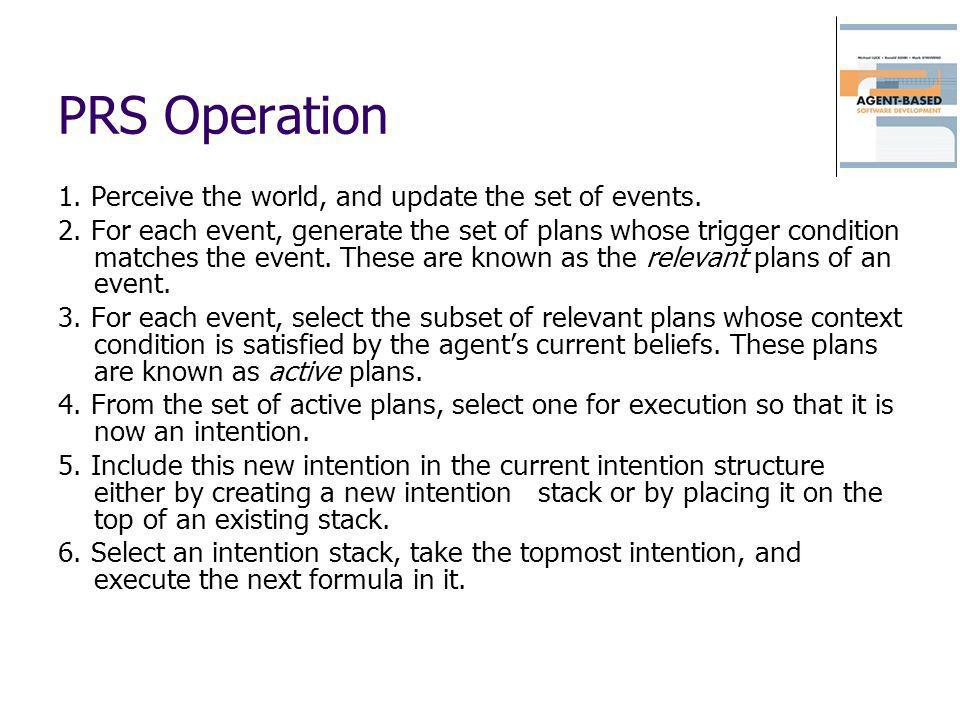 PRS Operation 1. Perceive the world, and update the set of events.