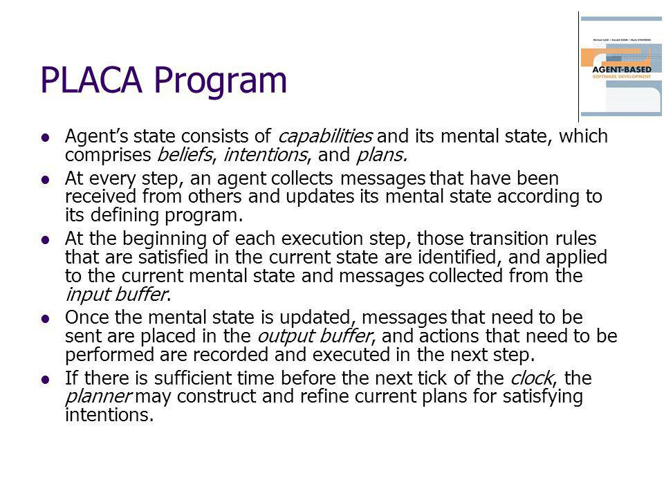 PLACA Program Agent's state consists of capabilities and its mental state, which comprises beliefs, intentions, and plans.