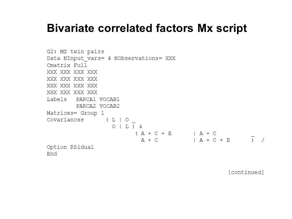 Multivariate Analysis of Twin Data