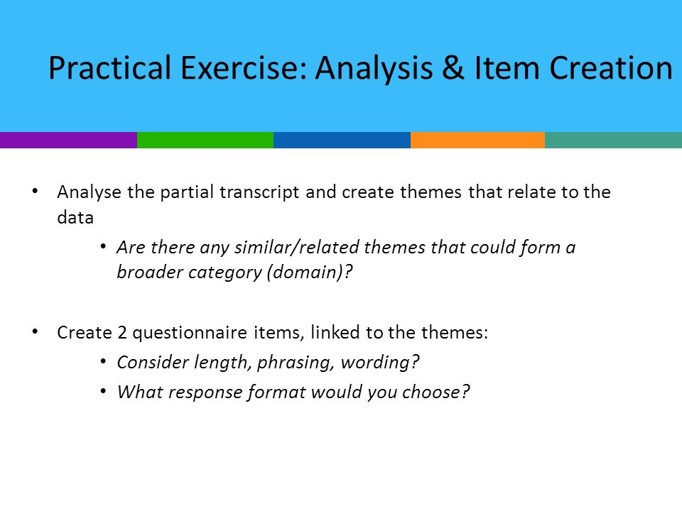 Practical Exercise: Analysis & Item Creation