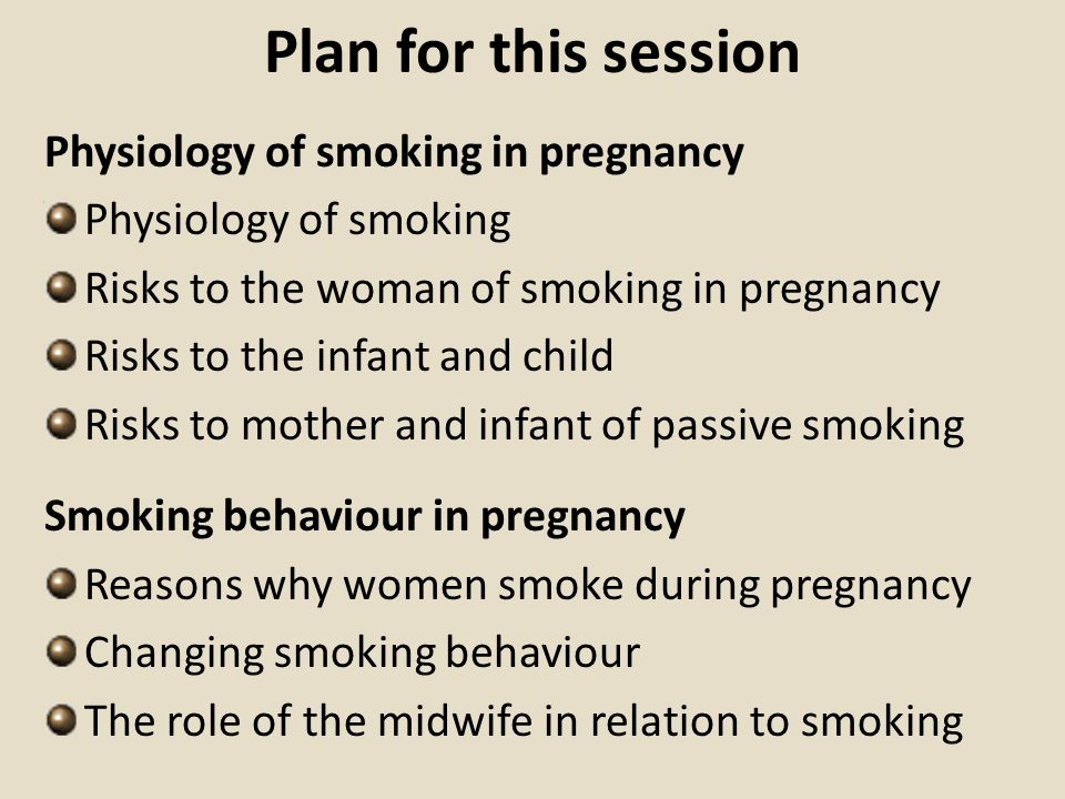 Plan for this session Physiology of smoking in pregnancy