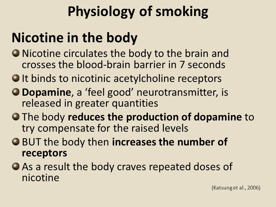 Physiology of smoking Nicotine in the body