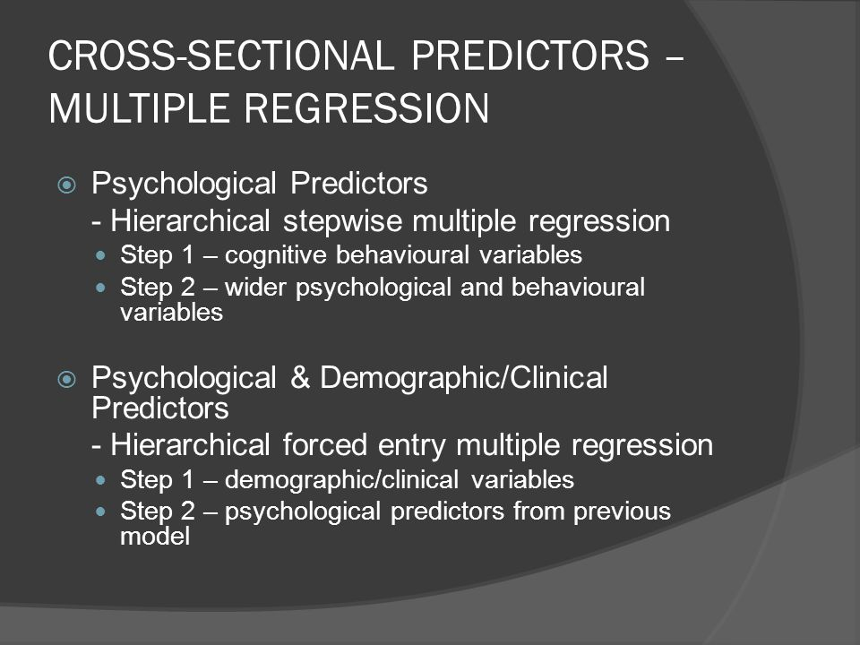CROSS-SECTIONAL PREDICTORS – MULTIPLE REGRESSION