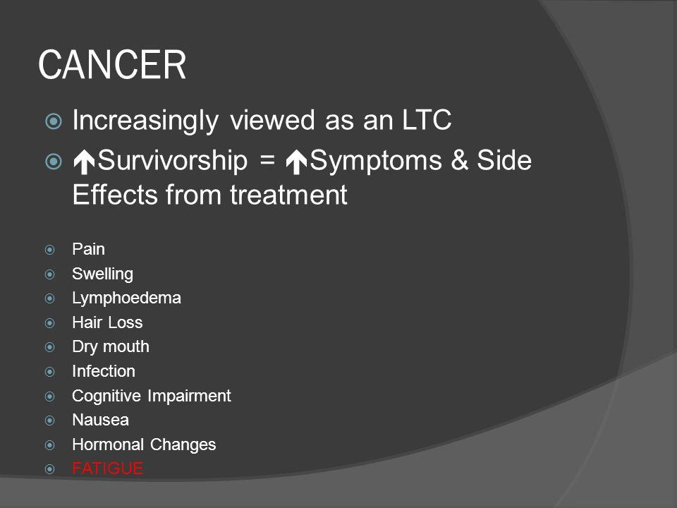 CANCER Increasingly viewed as an LTC