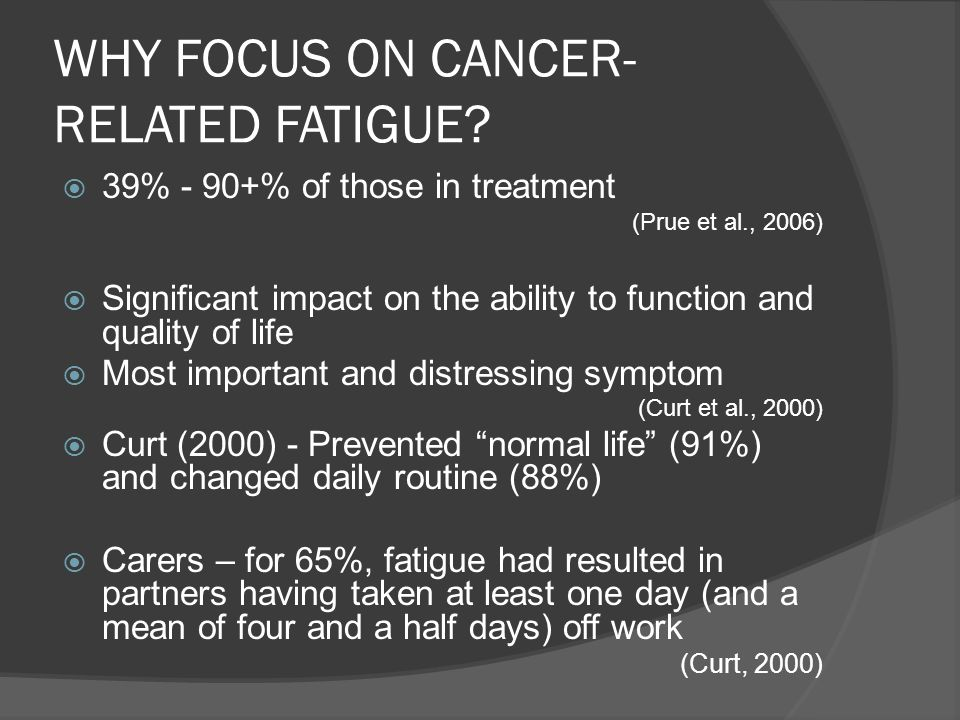 WHY FOCUS ON CANCER-RELATED FATIGUE