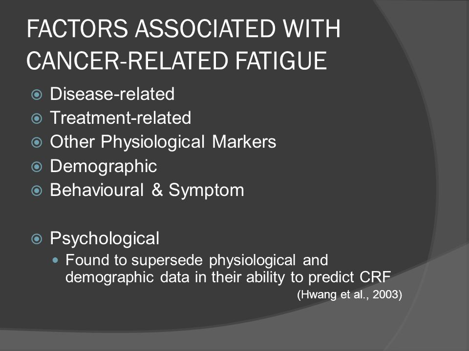 FACTORS ASSOCIATED WITH CANCER-RELATED FATIGUE