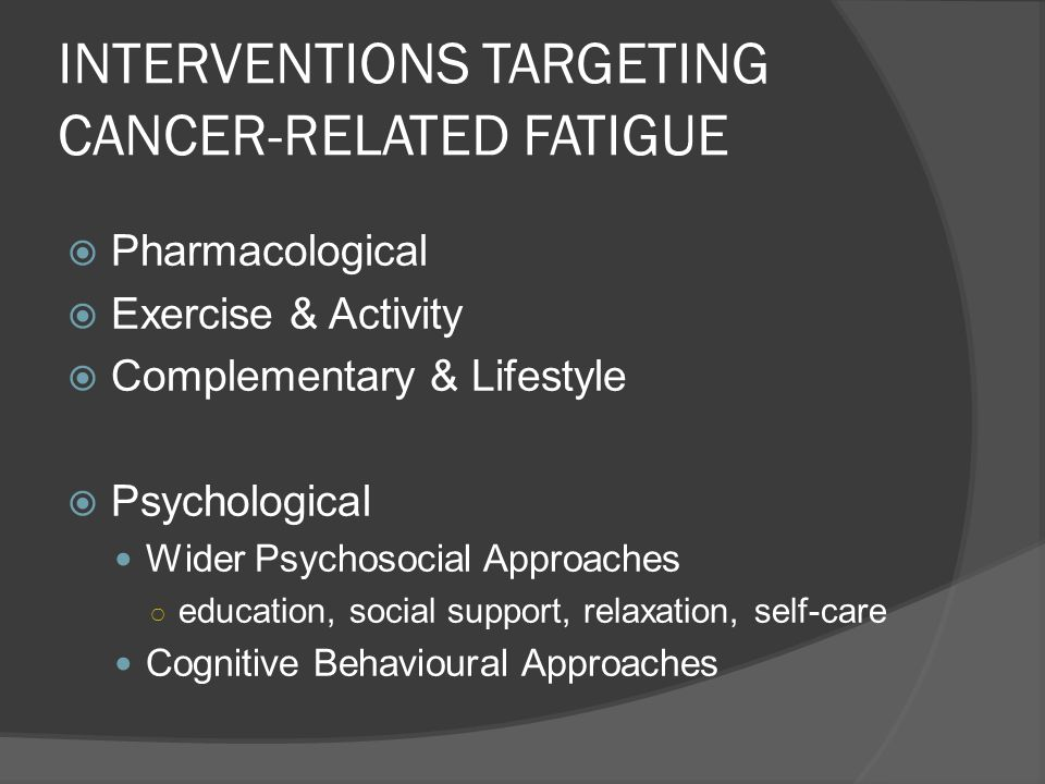 INTERVENTIONS TARGETING CANCER-RELATED FATIGUE